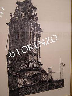 Almansa Torre de la Iglesia de la Asuncion  Dibujo a plumilla sobre papel