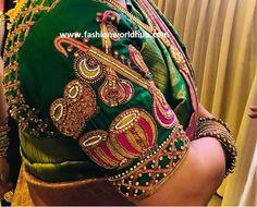 Wedding Saree Blouse Designs, Pattu Saree Blouse Designs, Fancy Blouse Designs, Blouse Neck Designs, Sari Blouse, Cut Work Blouse, Hand Work Blouse Design, New Design Gown, Magam Work Blouses