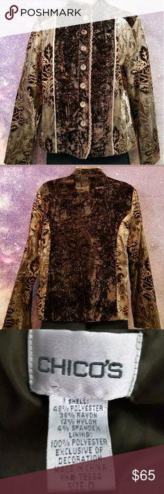 Chico's Velvet Burnout Jacket Chico's Size 0 Excellent Condition Chico's Jackets & Coats