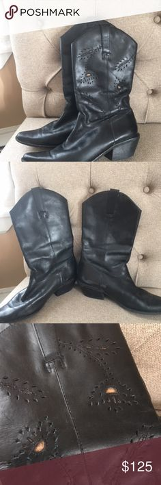 Matisse Leather Cowboy Boots These are genuine black leather from an esteemed and high quality brand.  They are in nice used condition, with a small scuff on the bottom left inner boot, and on the toes as pictured.  They also have a unique vine style design on them.  1.5 inch heel.  Just lovely! Matisse Shoes Heeled Boots