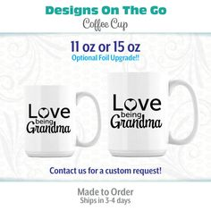 Coffee Mug, Love Being Grandma, Coffee Cup, 11 oz, 15oz, Foil Upgrade, Silver Foil, Gold Foil, Encouraging, Bible