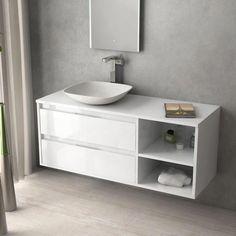 Terra, Meuble salle de bain blanc brillant 120 cm, 2 tiroirs