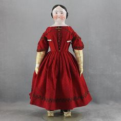 China Head Doll Early Kestner Pink Tint Covered Wagon Hairstyle Brown Eyes