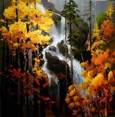 """Visit our site for more relevant information on """"abstract art paintings acrylics"""". It is actually a great location to learn more. Landscape Artwork, Watercolor Landscape, Watercolor Paintings, Art Paintings, Nature Paintings, Watercolors, Waterfall Paintings, Autumn Painting, Canadian Art"""