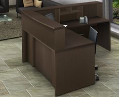 "Office Reception Center Desk 4 pc Group - ""Easy-to-Assemble-and-Use"" - Space Savers Model 2209 Elegant Espresso color - transform your reception area! Office Reception Area, Reception Areas, Reception Counter, Reception Design, Transitional Living Rooms, Transitional House, Transitional Lighting, L Shaped Corner Desk, L Shaped Executive Desk"
