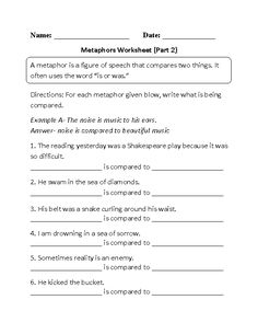 Metaphor Meanings Worksheet Part 2