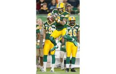 Edmonton Eskimos Fred Stamps catches against the Hamilton Tiger-Cats during the first quarter of the CFL game at Commonwealth Stadium on Friday, Oct. 5, 2012.