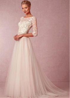 Elegant Lace & Tulle Bateau Neckline 3/4 Length Sleeves A-line Wedding Dress With Venice Lace Appliques