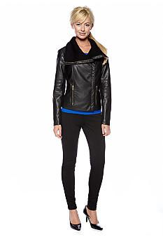 Calvin Klein Faux Leather Motorcycle Jacket with Ribbed Sweater Collar, Color Block Dolman Sleeve Top & Skinny Ponte Pant