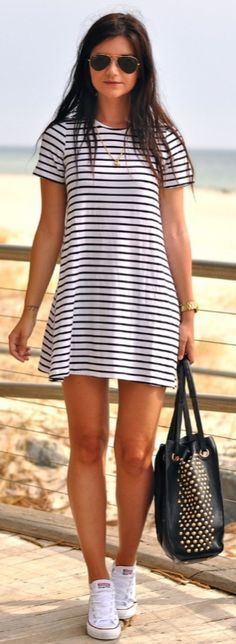 Black and white stripped T-shirt dress summer