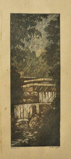 Falling Water Woodblock Print OOAK Hand Pulled Moku by starkeyart, $60.00