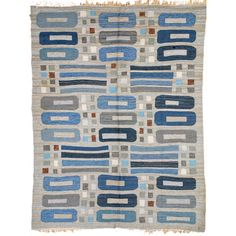 Circa 1940s vintage Swedish deco rug, blues & greys with hints of red & white