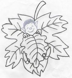 Pour répondre à plusieurs d'entre vous voici le gabarit des feuilles d'automne.[/COLOR]  Ce gabarit a été trouvé sur Internet.  J'ai découpé la tête du petit lutin et y ai ...