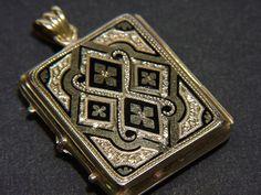 Filigraner Bild Anhänger antik 1870, Gold 585 & Email | eBay