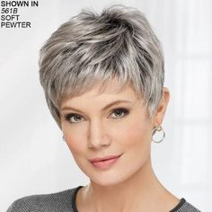 Casey WhisperLite Wig by Paula Young is a layered pixie. Haircut For Older Women, Short Hair Cuts For Women, Short Bob Hairstyles, Short Hairstyles For Women, Cool Hairstyles, Braid Hairstyles, Grey Wig, Short Grey Hair, Best Hair Serum