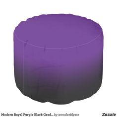 Modern Royal Purple Black Gradient Pouf