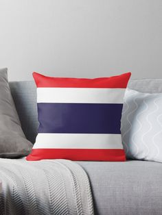 Flag Of Thailand. Throw Pillows Bed, Bed Throws, Floor Pillows, Decorative Throw Pillows, Thailand Flag, Buy Flags, Long Hoodie, Laptop Sleeves, Duvet Covers