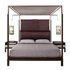 THEA bed with canopy and suspended lamps Furniture vendor in china email:derek@wonderwo.com. Web:www.wonderwo.cc
