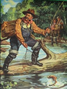 """Snagged on Branch Sheriff Fishing by Hy Hintermeister """"Fisherman's Luck"""""""