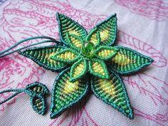 Lotus flower macrame necklace