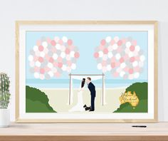 This beach themed wedding guest book alternative features a custom couple portrait in a beautiful beach scene with the state or country you want featured in the lower right hand corner.  See more here: https://www.etsy.com/listing/235842258/beach-wedding-guest-book-alternative?ref=shop_home_active_2