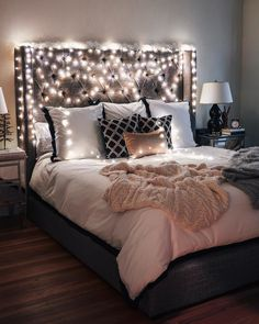 The lights around the headboard are a bit extra but.. love this