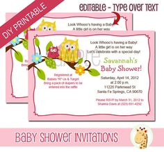 Happy Tree Owls Pink Girl Baby Shower or Owl Birthday Invitations - DIY - Do it Yourself! Just use Adobe Reader to open this file and type the text. You can be printing your own invitations in the same day! Editable text and instant download means no waiting... perfect for last minute showers. You can also save the text and change it ~ last minute venue changes are not a problem!