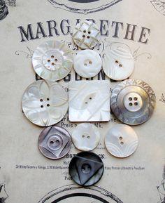 Carved MOP vintage buttons
