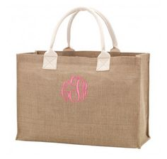 Our Burlap Monogrammed Tote is also fun to use as a personalized gift bag! Just place your gift in their new monogrammed tote for a gift that is so especially personalized! (Great for Christmas, Valentine's Day, Easter and Mother's Day!)