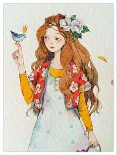 People Illustration, Cute Illustration, Watercolor Illustration, Girl Cartoon, Cartoon Art, Watercolor Girl, Digital Art Girl, Beautiful Drawings, Illustrations And Posters