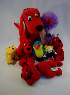 Large Lot of CLIFFORD the big red dog CLEO T-BONE plush toys B USED