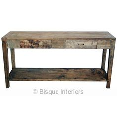 TWO DRAWER CONSOLE WITH SHELF | cabinets