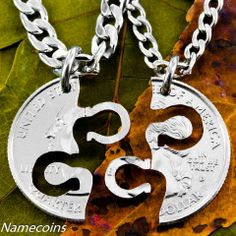 Horseshoe Necklace, Equestrian Jewelry, Friendship set hand cut coin – NameCoins
