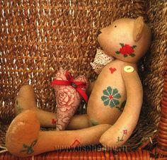 медведь тильда в винтажном стиле с вышивкой крестом