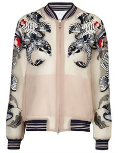 Nude Tattoo Embroidered Jacket 3.1 Phillip Lim  nearly naked shades with embroidery.