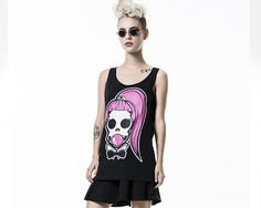 Women Black tank top with an all over Skull Print on the front.  Skull tank top with A very sexy figure with a flattering loose cut.  Cool t shirt For