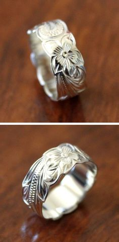 Sterling silver plumeria heritage scroll ring