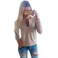 COCKCON Casual Ladies V-Neck Long Sleeve Hoodie Women Winter Jumper Pullover Tops