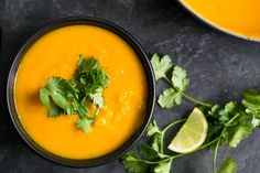 Roasted kabocha squash soup, thick and creamy, with ginger, cumin, and coriander. Perfect for fall! #Kabocha #Squash #Soup #Paleo #GlutenFree