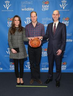 Prince William, Duke of Cambridge (C) and Catherine, Duchess of Cambridge (2nd L) pose with NBA Commissioner Adam Silver (R) as they attend the Cleveland Cavaliers vs. Brooklyn Nets game at Barclays Center on December 8, 2014