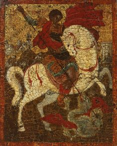 (17th c.) Greek Icon of Saint George and the Dragon