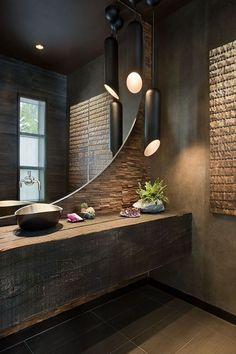 Contemporary Powder Room with Powder room, Wood counters, Pental sign porcelain tile - moka, Vessel sink, Pendant light