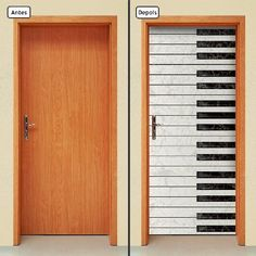 adesivo decorativo de porta - teclado - música - 502mlpt