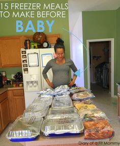 15 freezer meals to make before baby        Cheesy Taco Bake Tuscan Pasta Bake Freezer Crockpot Beef Stew Freeze Mac & Cheese Southwestern Chicken & Rice Pepperjack Chicken Taquitos Lasagna Roll Ups Maple Dijion Glazed Chicken Beef, Bean, Cheese Burritos Breakfast Burritos DIY Lactation Smoothie Packs Slow Cooker BBQ Spare Ribs Chunky Beef Chili Teriyaki Chicken Thighs Beef & Broccoli BONUS RECIPE: Lactation Bites
