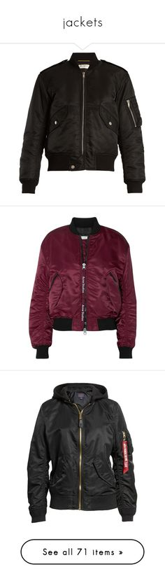 """""""jackets"""" by fizzykittens ❤ liked on Polyvore featuring outerwear, jackets, bomber jacket, black, flight jackets, yves saint laurent jacket, collared bomber jacket, collar jacket, studded jacket and coats"""