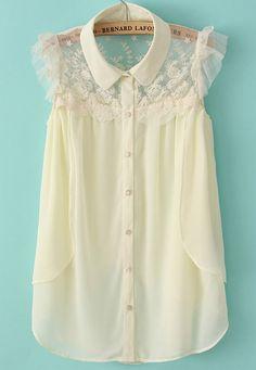 Beige Sleeveless Contrast Lace Chiffon Blouse - Sheinside.com