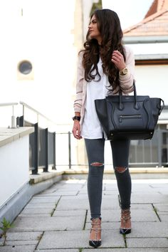 FashionHippieLoves - Fashion Blogger from Germany. Pink bomber jacket+white shirt+grey ripped jeans+rockstud pumps+black tote bag. Spring outfit 2016