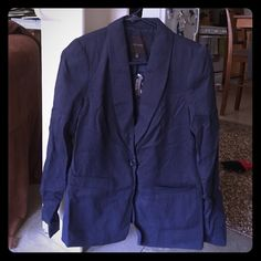 Limited Navy Blue Blazer Sorry for the wrinkles! I need a new iron! Navy blue one button blazer from the Limited. New with tags. The Limited Jackets & Coats Blazers
