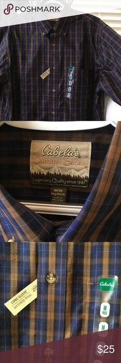 New  dress shirt outfitter series wrinkle free med Never worn Cabelas (bass pro shop) long sleeve outfitter series brown/blue/black very handsome shirt cabelas Shirts Casual Button Down Shirts