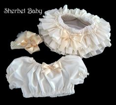 Complete Set Fancy Headband Hairbow Peasant Crop Midriff Top All Around Ruffle Sassy Pants Ruffle Diaper Cover Bloomer in Ivory with Cream